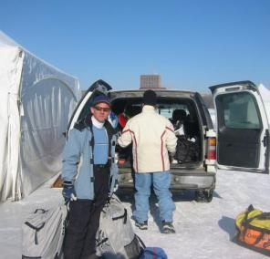 Arrived at Kite Camp early in the morning, Claude and Paul unloaded the truck. We used this same Tahoe LX 4x4 on sand as well as snow and ice